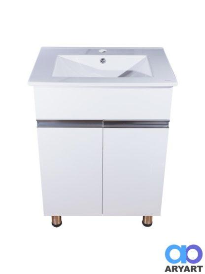 Mueble dos puertas con mesada y tirantes de aluminio